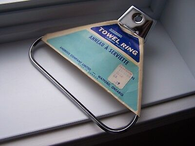 Vintage ANDROCK Chrome plated Towel ring Holder Rack - NEW OLD STOCK