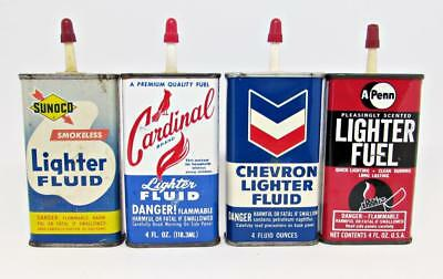 Lot of 4 Vintage 4oz Lighter Fluid Tin Cans - Sunoco Chevron Cardinal A Penn