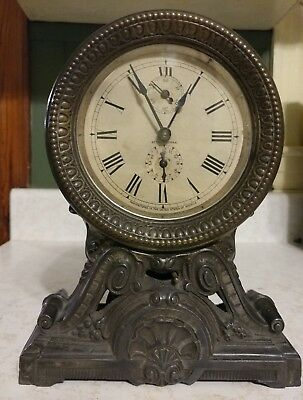Seth Thomas Antique Long Alarm Clock Rare 100% Original Beautiful Shelf Mantle