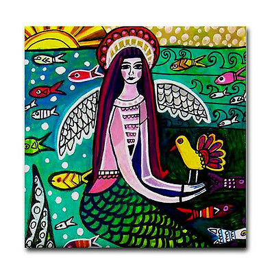 Mermaid art Tile Ceramic Coaster Print of painting by Heather Galler
