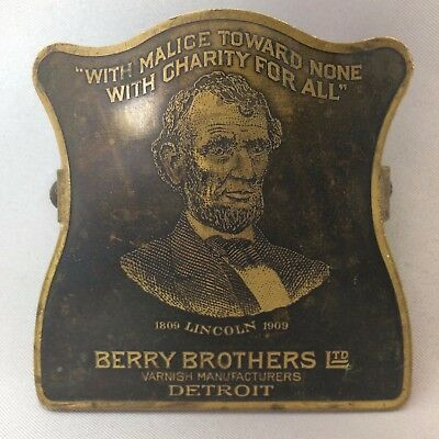 1909 ANTIQUE Orgnl BERRY BROS VARNISH Advertising Metal Clip ABE LINCOLN Detroit