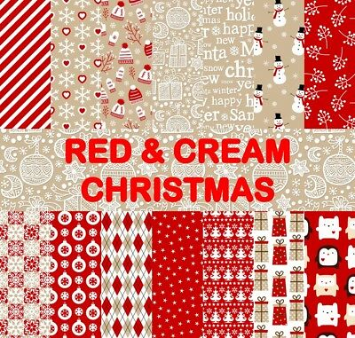 RED & CREAM CHRISTMAS SCRAPBOOK PAPER - 14 x A4 pages