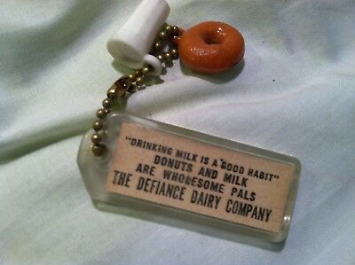 THE DEFIANCE ohio DAIRY CO adv key chain MILK & DONUT donuts & milk are pals