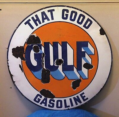 """Original GULF Porcelain Sign - From the Teens or 1920s - 28"""" - Gulf Gasoline Oil"""