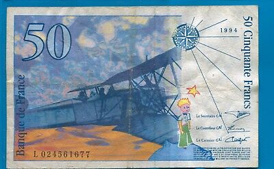 France 50 Francs 1994 Banknote P-157A VF  Airplane