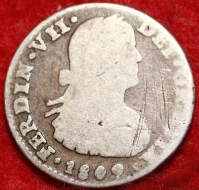 1809 Mexico Real Silver Foreign Coin Free S/H