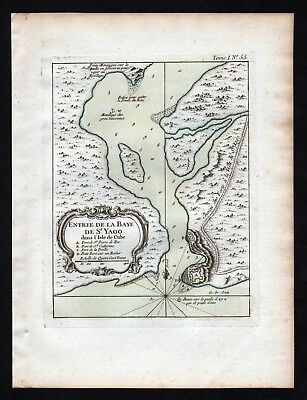 1764 - Santiago de Cuba Kuba Bellin handcolored antique map