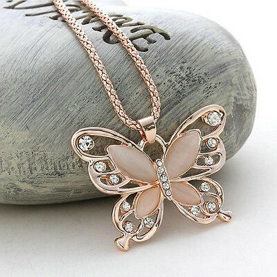 Fashion Long Chain Women Rose Gold Opal Butterfly Charm Pendant Necklace Jewelry