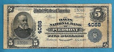 1902 $ 5 Charter 4088 Davis National Bank of Piedmont West Virginia Rare Note