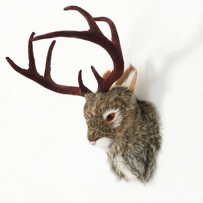 JACKALOPE Head Mount Realistic Animal In Fur Figurine For Home Or Office Gifts