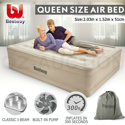 Bestway Air Bed Inflatable Luxury Queen Camping Blow Up Mattress Built-in Pump