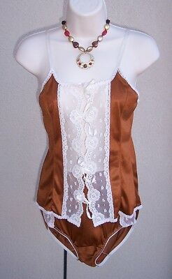 Vintage 2pc teddy sz S 6 bust34 FALL copper silky nylon briefs panties camisole