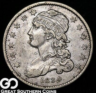 1834 Capped Bust Quarter, Clashed Die, XF++ Early Silver Type!
