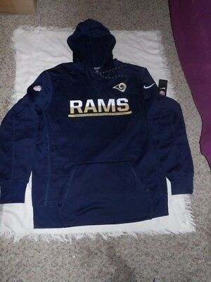 buy online c5519 3cf6f NFL LA RAMS Nike Therma Fit On Field Adult Pullover Hoodie Jacket Size Lg  NWT