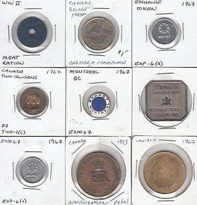 Canada lot of 9 medals/tokens c. 1940-1990