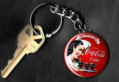 Coca-Cola Pretty Female Server COKE Keychain Key Chain 1950's