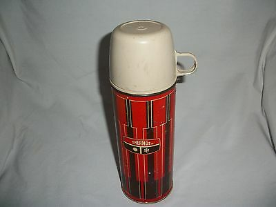 Vintage 1972 Metal Thermos Black/Red/White King Seeley Thermos Co.