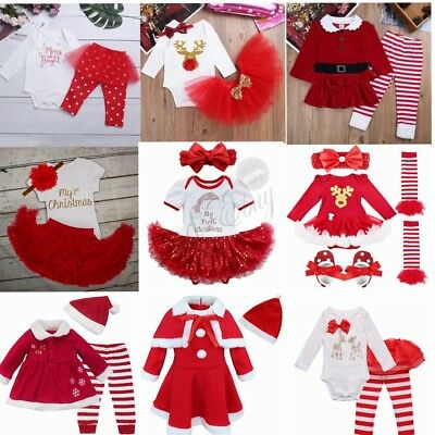Baby Girl My 1st Christmas Santa Romper Tutu Outfit Fancy Dress Skirt Costume