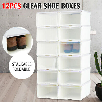 12PCS Storage Clear Drawer Shoe Boxes Stackable Foldable Case Home Wardrobe