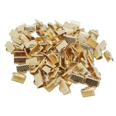 100pcs Metal Crimp End Beads Fold Over Clasps Cord End Clips 10mm Gold