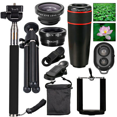 10in1 Lens Mobile Phone Camera Cell Clip Optical Telescope Kit 8X Zoom Universal
