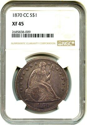 1870-CC $1 NGC XF45 - Low Mintage Date - Liberty Seated Dollar