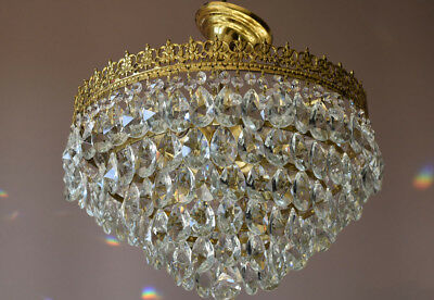 Antique Pendant French Crystal Art Nouveau Chandelier FLUSH Low Ceiling Lighting