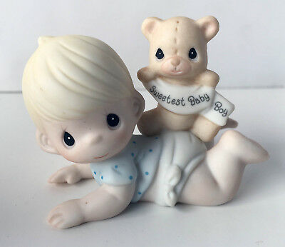 """Precious Moments """"The Sweetest Baby Boy"""" Porcelain Figurine NEW IN BOX 101500"""