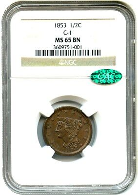 1853 1/2c NGC/CAC MS65 BN (C-1) Gem Type Coin - Half Cent - Gem Type Coin