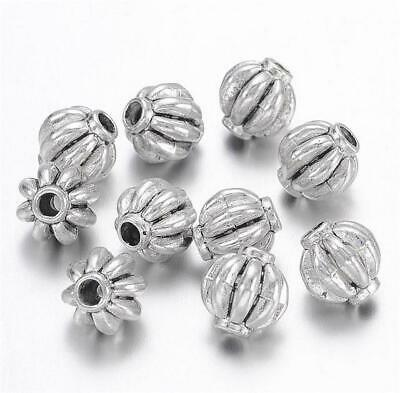TOP QUALITY 10 TIBETAN SILVER PUMPKIN LANTERN SPACER BEADS 7mm ( TS34 )