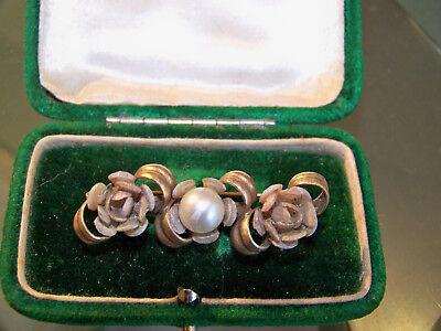 Old Vintage Art Deco Jewellery Charming Celluloid & Pearl Flower Bar Brooch Pin
