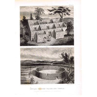 PERU Ancient Peruvian Palace and Temple Antique Print c1853
