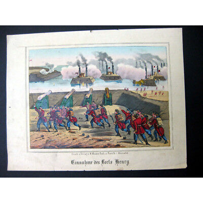 US CIVIL WAR The Taking of Fort Henry - 19th Century Hand Coloured Antique Print