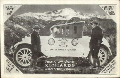Deltiology - Around World on Postcard Old Car Frank Jans Richards Denver jrf