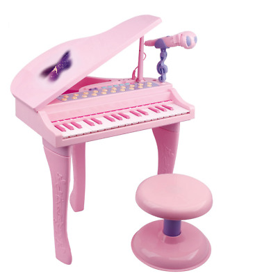Childrens Pink Grand Piano Electronic Keyboard & Stool Microphone Toy 88022A