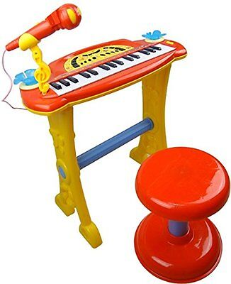 Childrens Red Electronic Piano Keyboard with Stool & Microphone & MP3 Player Toy