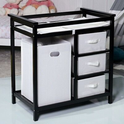Baby Diaper Storage Changing Station Dresser Wood Table w/ 3 Baskets 2 Colors