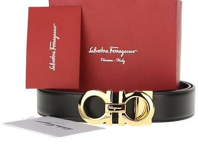 New Salvatore Ferragamo Reversible Leather Gold Double Gancio Logo Belt