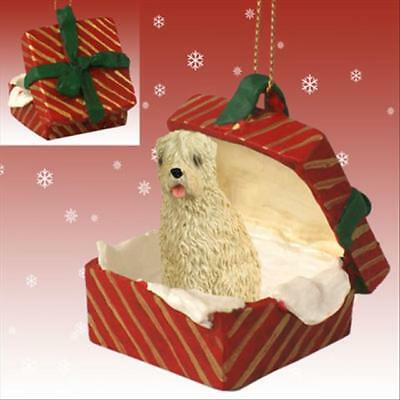 Soft Coated Wheaten Terrier Dog RED Gift Box Holiday Christmas ORNAMENT