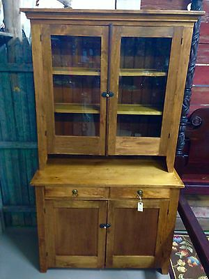 Beautiful Antique Mixed Wood Step Back Kitchen Cabinet Cupboard 44w78h20d