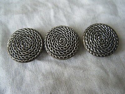 3 VINTAGE METAL BUTTONS, COILED ROPE PATTERN, SILVER COLOUR, 25mm