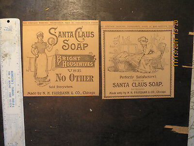 Santa Claus Soap Ad Newspaper 1893 Fairbanks Co. Bright Housewives Satisfactory