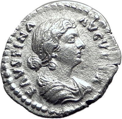 FAUSTINA II Marcus Aurelius wife 161AD Silver Ancient Roman Coin Happy i65087