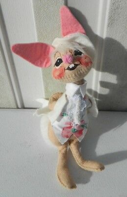 """Vintage Annalee Easter Bunny W/ Suit Doll Hand Painted 9"""" LOOK Rare"""