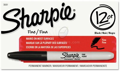 Sharpie Permanent Marker Fine Point 12 pens/pack Black SAN 30001