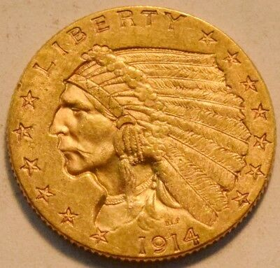 1914 D $2.50 Gold Indian Quarter Eagle, High Grade 2 and 1/2, Nice Looking Coin