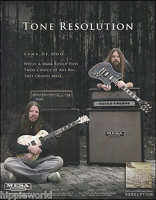 Lamb of God Resolution Willie Adler Mark Morton Mesa Boogie guitar amp 8 x 11 ad