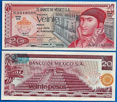 Mexico P-64 20 Pesos Year 1977 Uncirculated Banknote