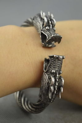 Chinese Collectable Handwork Old Miao Silver Carve Dragon Head Exorcism Bracelet