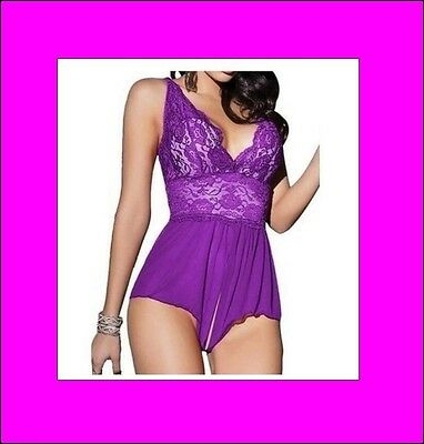 Lingerie, Dessous, Baby Doll, ouvert XL in lila